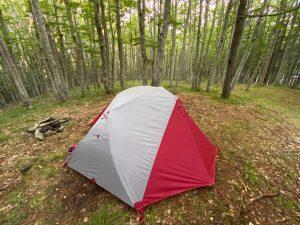 La nostra tenda Msr Elixir 2 che usimao nel weekend in trekking maldavventura tra l'Eremo della Casella al Santuario della Verna